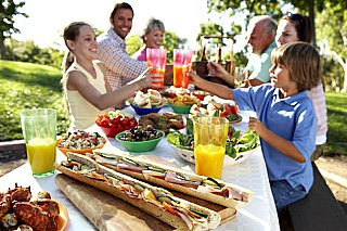 family celebrating dining together
